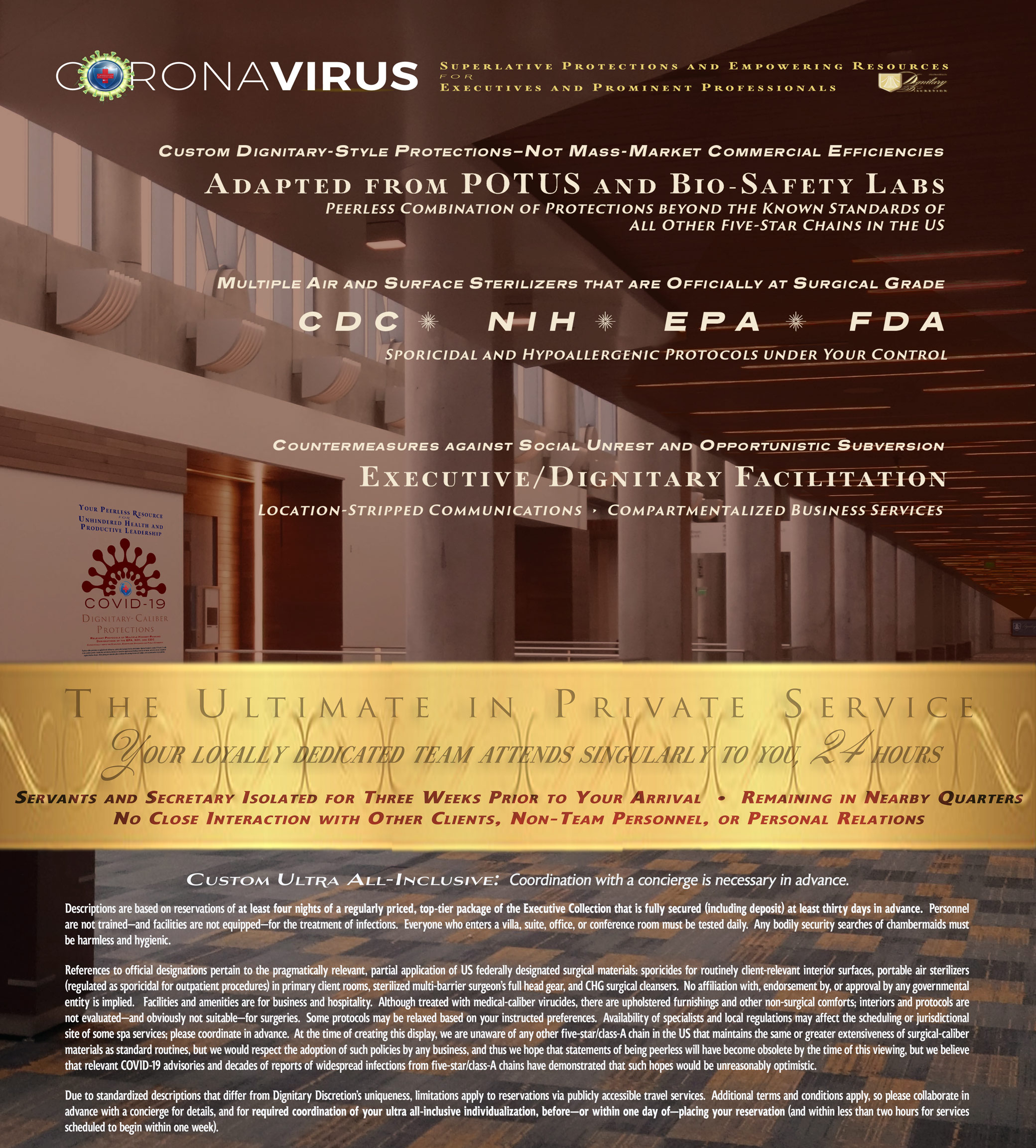 Five Star Hotel San Francisco Bay Area Isolation from COVID19 Coronavirus